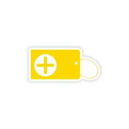 keychain: icon sticker realistic design on paper keychain