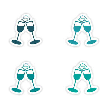 wineglasses: assembly realistic sticker design on paper wineglasses