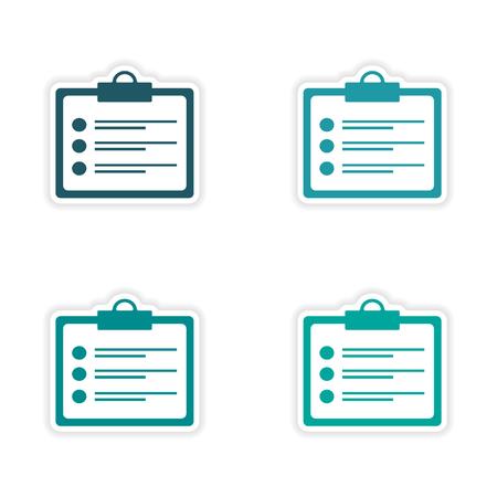 customization: assembly realistic sticker design on paper form Illustration