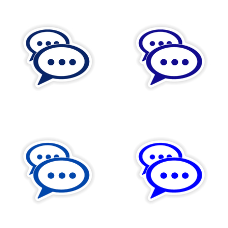 phrases: assembly realistic sticker design on paper cloud phrases Illustration