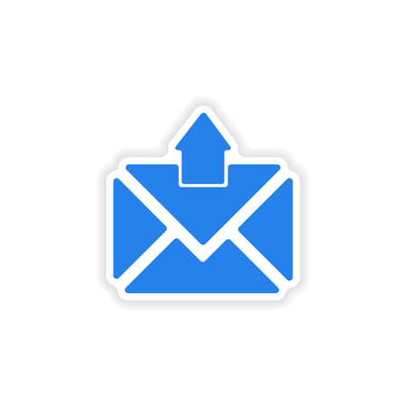 email icon: icon sticker realistic design on paper email