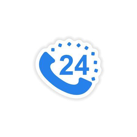 hot line: icon sticker realistic design on paper hot line