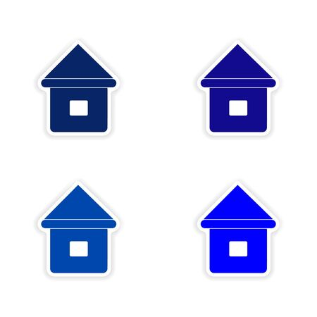 customization: assembly realistic sticker design on paper houses Illustration