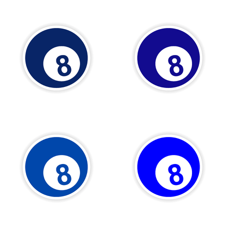 assembly: assembly realistic sticker design on paper billiards Illustration
