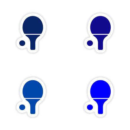 real tennis: assembly realistic sticker design on paper table tennis Illustration