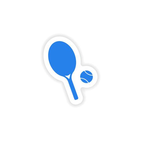 racquetball: dise�o realista icono de etiqueta en la cancha de papel Vectores