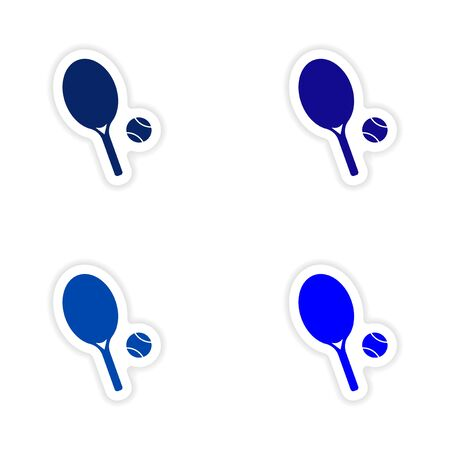 real tennis: assembly realistic sticker design on paper tennis