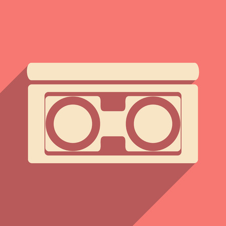 Flat with shadow icon and mobile application video cassette Vector