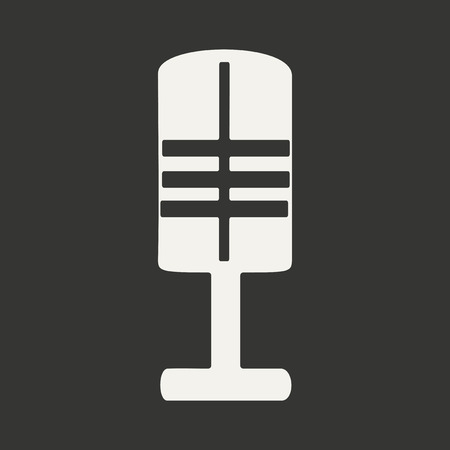 Flat in black and white mobile application microphone Vector