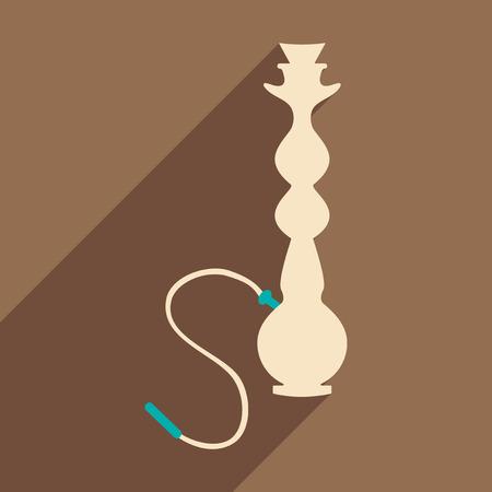 shisha: Flat with shadow icon and mobile application hookah shisha