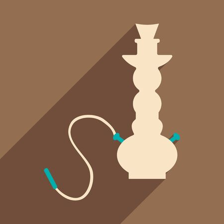 personal ornaments: Flat with shadow icon and mobile application hookah shisha