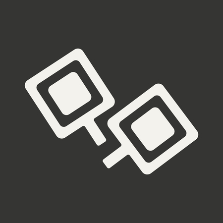cufflinks: Flat in black and white mobile application cufflinks Illustration