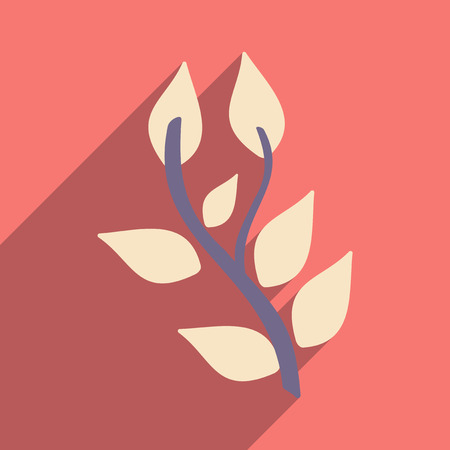 basil: Flat with shadow icon and mobile application basil plant Illustration