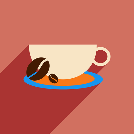 food and drinks: Flat with shadow icon and mobile application demitasse