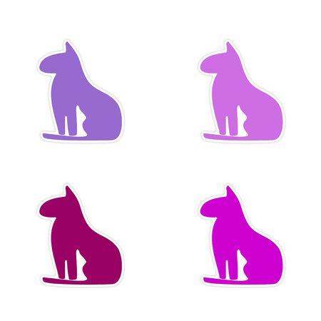 cat goddess: assembly realistic sticker design on paper  Egypt cat
