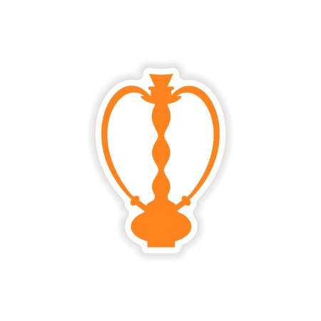 figura: ícone adesivo projeto realista sobre hookah shisha papel