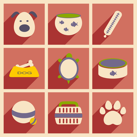 Flat with shadow concept and mobile application veterinary Vector