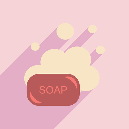 soap: Flat with shadow icon and mobile application soap Illustration
