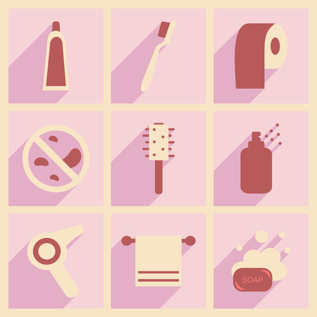 personal care: Flat with shadow concept and mobile application personal care Illustration