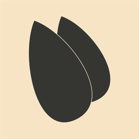 almonds: Flat in black and white mobile application almonds