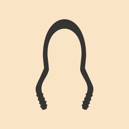 tongs: Flat in black and white mobile application hookah tongs Illustration