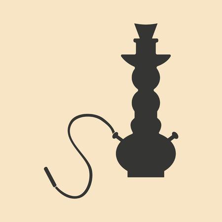 shisha: Flat in black and white mobile application hookah shisha
