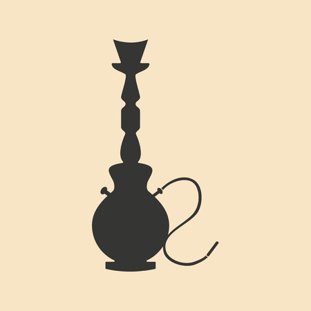 personal ornaments: Flat in black and white mobile application hookah shisha