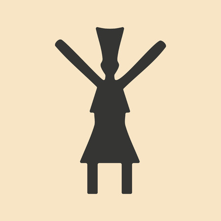 man and woman silhouette: Flat in black and white mobile application dance traditional