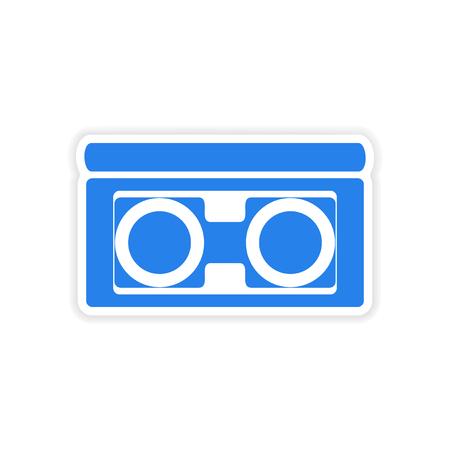 videocassette: dise�o realista icono de etiqueta de cinta de v�deo de papel