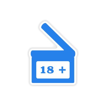 clapperboard: icon sticker realistic design on paper  Clapperboard