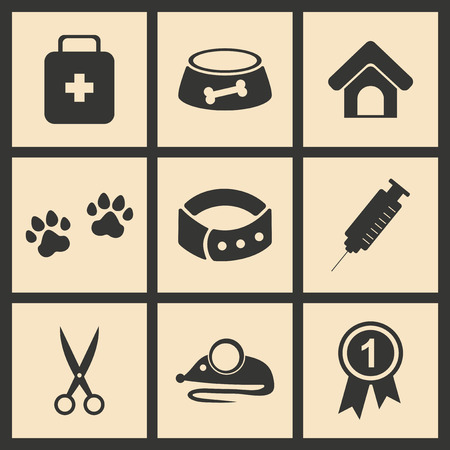 veterinary medicine: Flat in black and white concept mobile application veterinary medicine Illustration