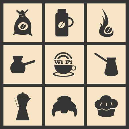 break in: Flat in black and white concept mobile application coffee break