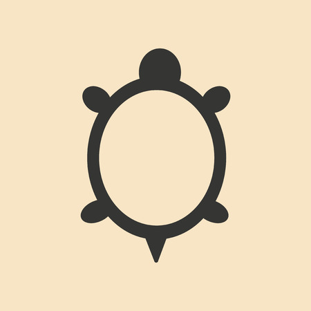 turtle: Flat in black and white mobile application turtle Illustration