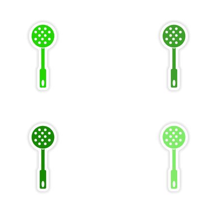 assembly realistic sticker design on paper strainer Illustration