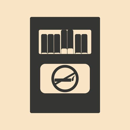 toxic product: Flat in black and white mobile application pack of cigarettes