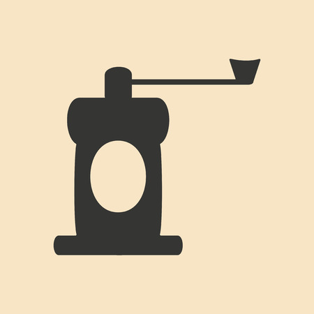 coffee mill: Flat in black and white mobile application coffee mill Illustration
