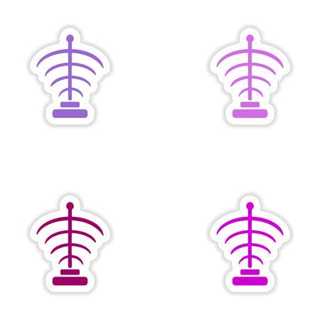 personal ornaments: assembly realistic sticker design on paper magic symbols