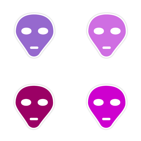 invader: assembly realistic sticker design on paper alien Illustration