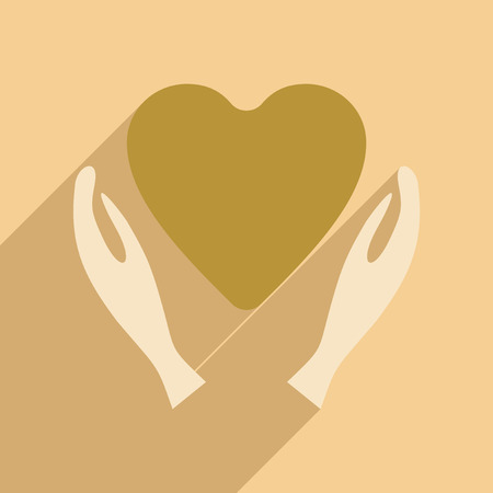charity person: Flat with shadow icon and mobile application charity logo