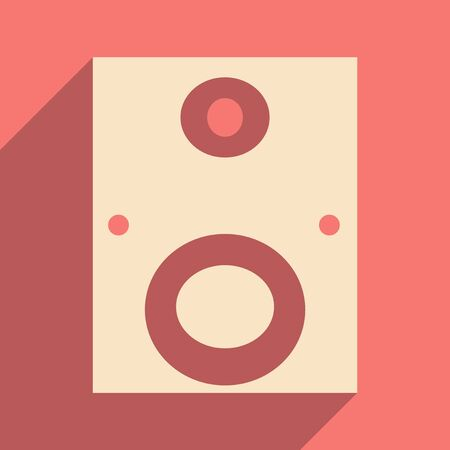 subwoofer: Flat with shadow icon and mobile applacation subwoofer