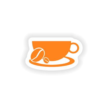 demitasse: icona del design realistico adesivo su carta demitasse Vettoriali