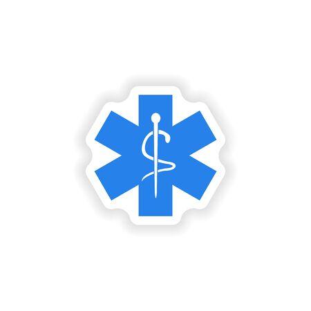 ems: dise�o realista icono de etiqueta en papel emblema m�dico