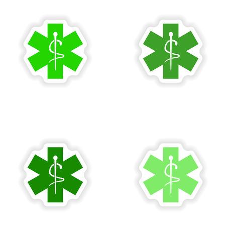 ems: dise�o de etiqueta montaje realista en papel emblema m�dico
