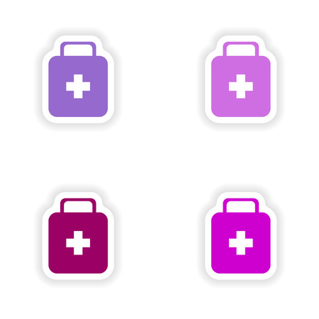 firstaid: assembly realistic sticker design on paper medicine chest Illustration