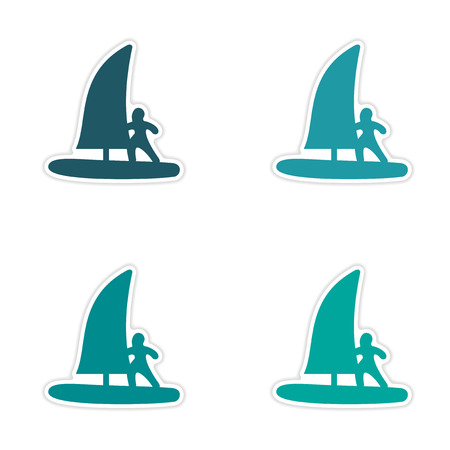 windsurf: assembly realistic sticker design on paper windsurfing Illustration