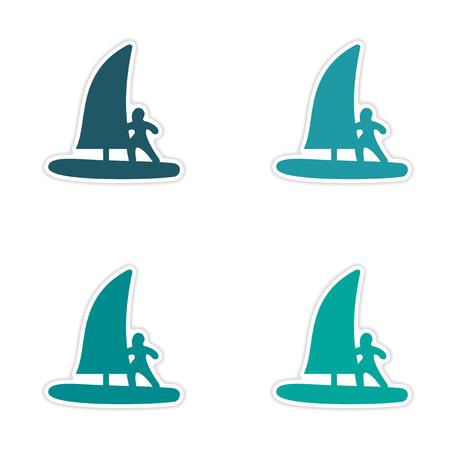windsurfing: diseño de etiqueta montaje realista sobre windsurf papel
