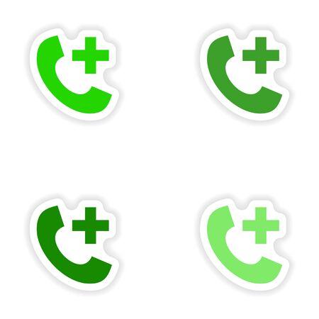 hotline: Montage realistisch Aufkleber Design auf Papier Notfall-Hotline