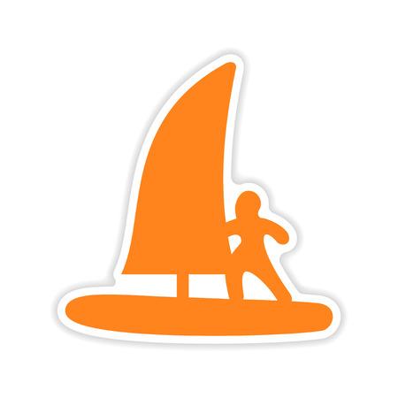 windsurfing: diseño realista icono de etiqueta de windsurf de papel