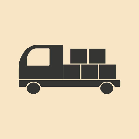 supply chain: Flat in black and white mobile application Freight Illustration