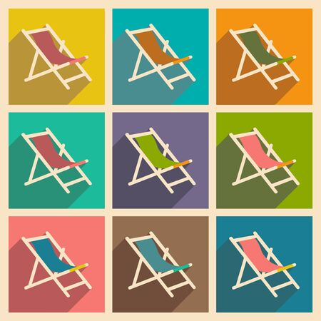 deckchair: Flat with shadow concept and mobile application deckchair